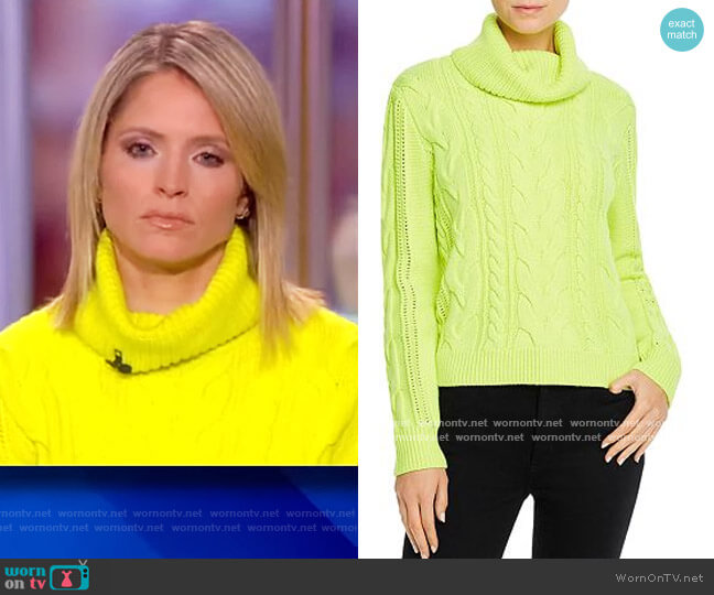 Mayme Cable-Knit Cowl-Neck Sweater by Alice + Olivia worn by Sara Haines  on The View