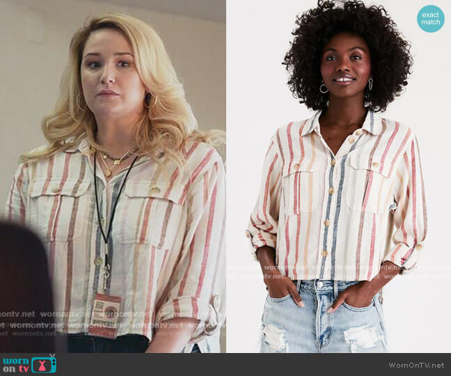 Multi Colored Striped Shirt by American Eagle worn by Davia (Emma Hunton) on Good Trouble