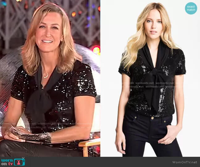 Annabelle Sequin Blouse by Tory Burch worn by Lara Spencer  on Good Morning America
