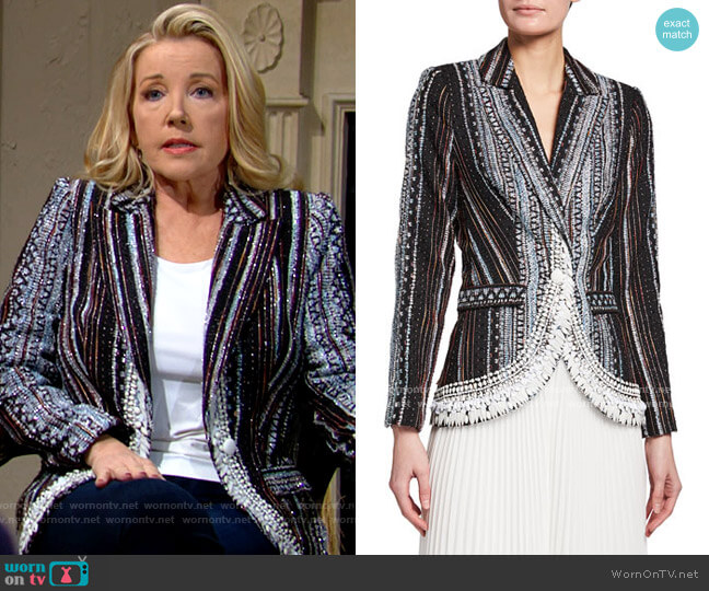 Badgley Mischka Embellished Fil Coup Jacket worn by Nikki Reed Newman (Melody Thomas-Scott) on The Young & the Restless
