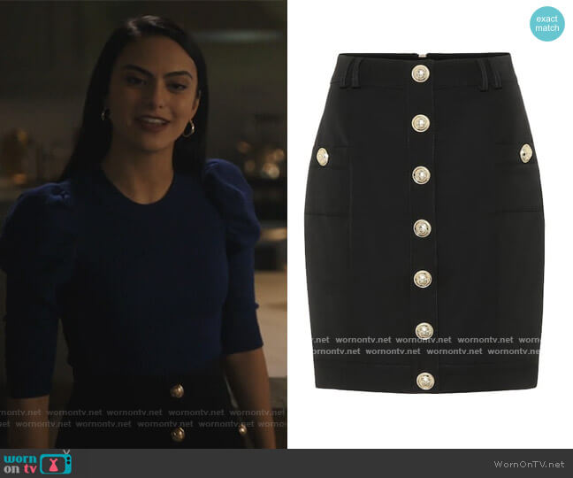 Short Single Breasted Skirt by Balmain worn by Veronica Lodge (Camila Mendes) on Riverdale