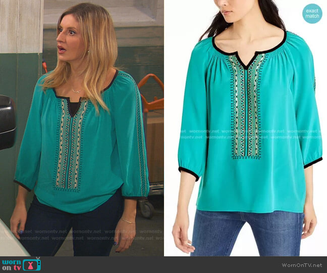 Beaded Blouse by Nanette Lepore worn by Chelsea Grayson (Anneliese van der Pol) on Ravens Home