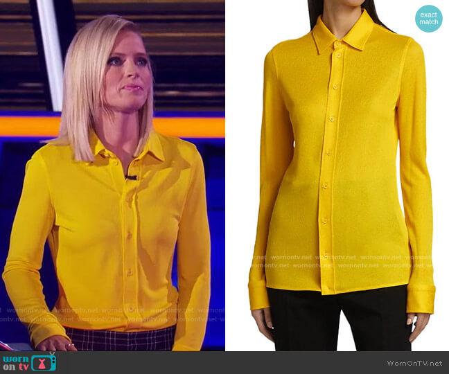 Gridded Long-Sleeve Shirt by Bottega Veneta worn by Sara Haines  on The Chase