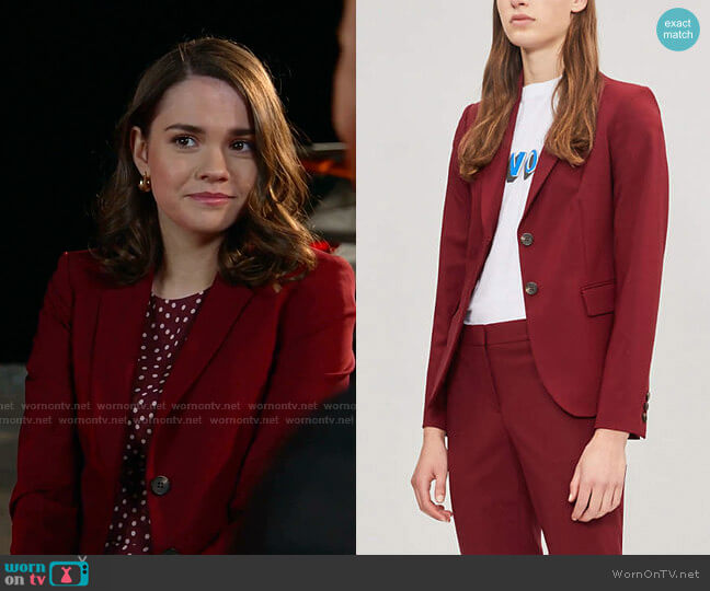 Carissa Blazer by Theory worn by Callie Foster (Maia Mitchell) on Good Trouble