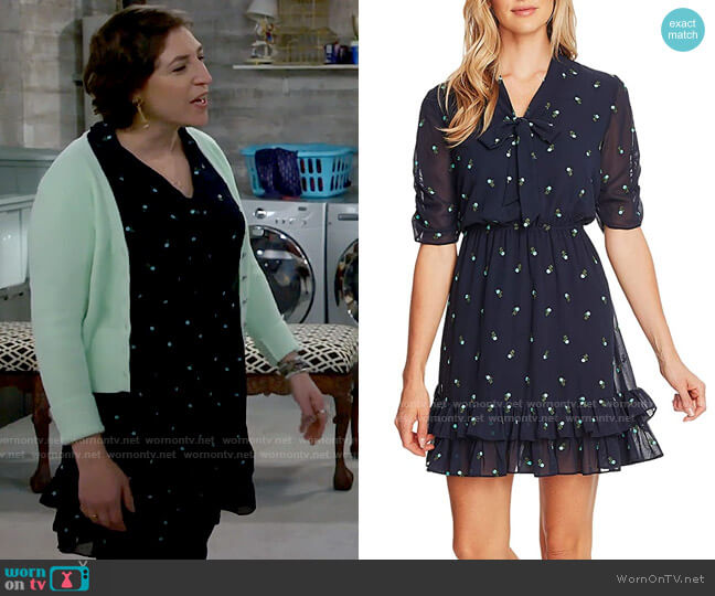 CeCe V-Neck Floral Embroidered Dress with Ruffle Hem  worn by Kat Silver (Mayim Bialik) on Call Me Kat