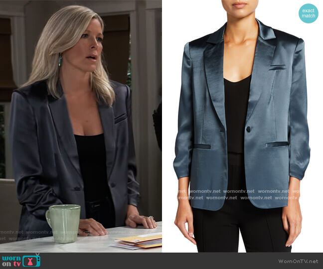 Khloe Smooth Satin Blazer by Cinq a Sept worn by Carly Corinthos (Laura Wright) on General Hospital
