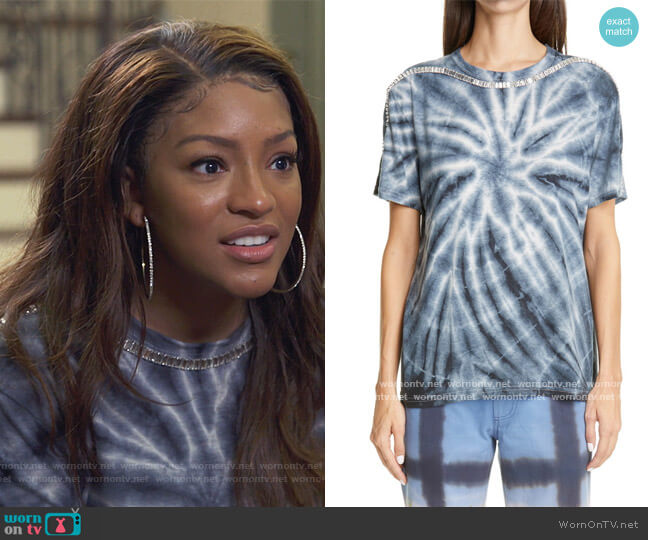 Sporty Spice Crystal Oversized T-Shirt by Collina Strada worn by Drew Sidora on The Real Housewives of Atlanta worn by Drew Sidora  on The Real Housewives of Atlanta