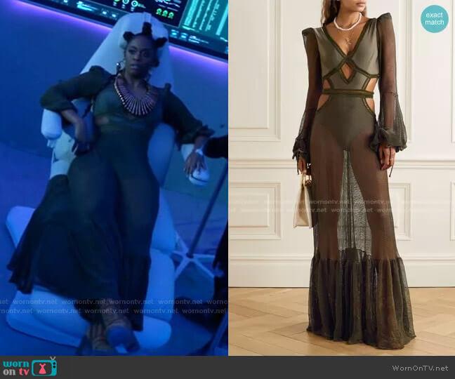 Cutout Mesh and Stretch-Jersey Maxi Dress by Patbo worn by Anissa Pierce (Nafessa Williams) on Black Lightning