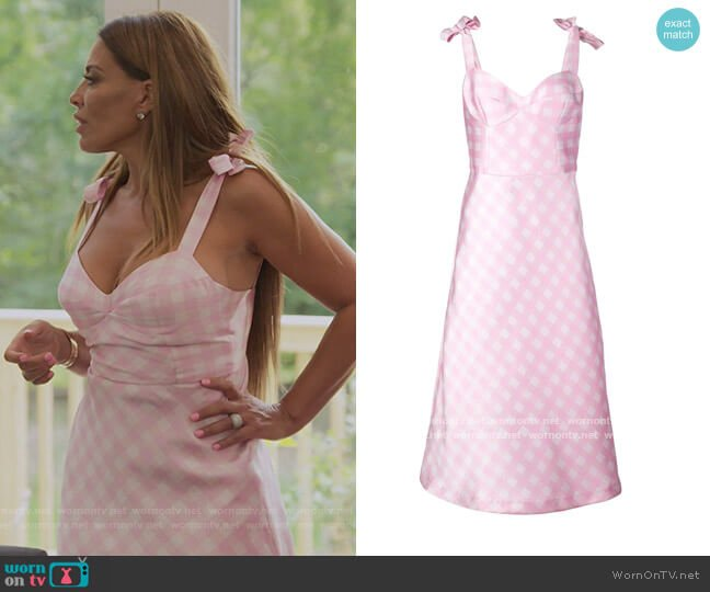 Easton Gingham Check Dress by Cynthia Rowley worn by Dolores Catania  on The Real Housewives of New Jersey