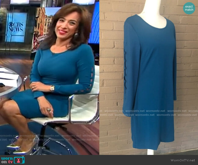 Cynthia Rowley Teal button sleeve stretch dress worn by Michelle Miller  on CBS This Morning