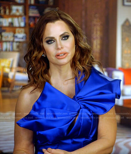 D'Andra's blue one-shoulder top on The Real Housewives of Dallas
