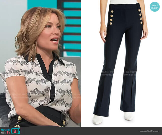 Flare Trousers with Sailor Buttons by Derek Lam 10 Crosby worn by Kit Hoover  on Access Hollywood
