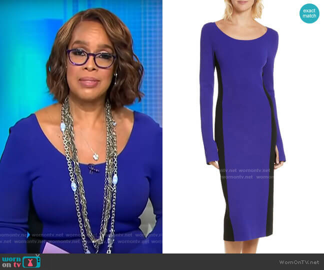 Diane von Furstenberg Colorblock Knit Body-Con Dress worn by Gayle King  on CBS This Morning
