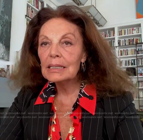 Diane von Furstenberg's red panther print blouse on Good Morning America