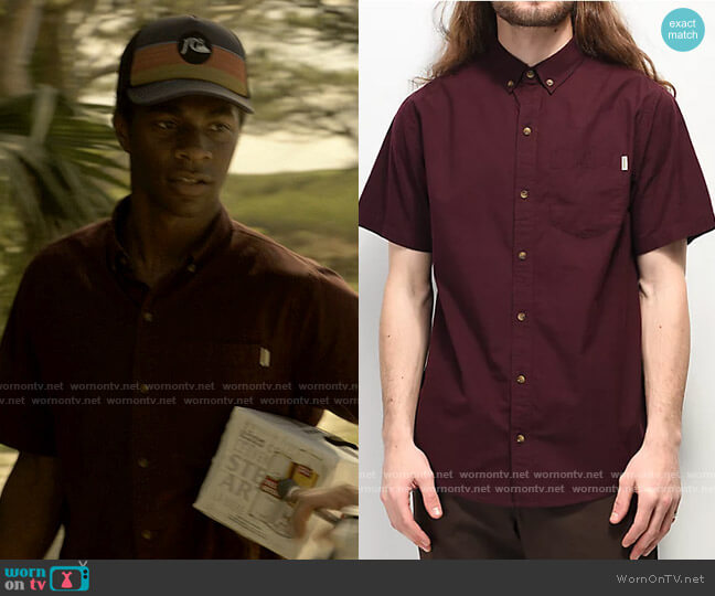 Dravus Robby Dark Red Woven Short Sleeve Button Up Shirt worn by Pope (Jonathan Daviss) on Outer Banks