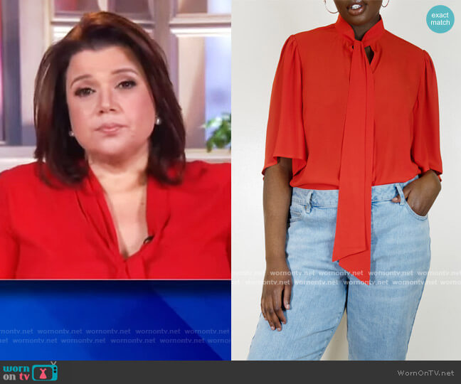 Bow Blouse with Flutter Sleeve by Eloquii worn by Ana Navarro  on The View