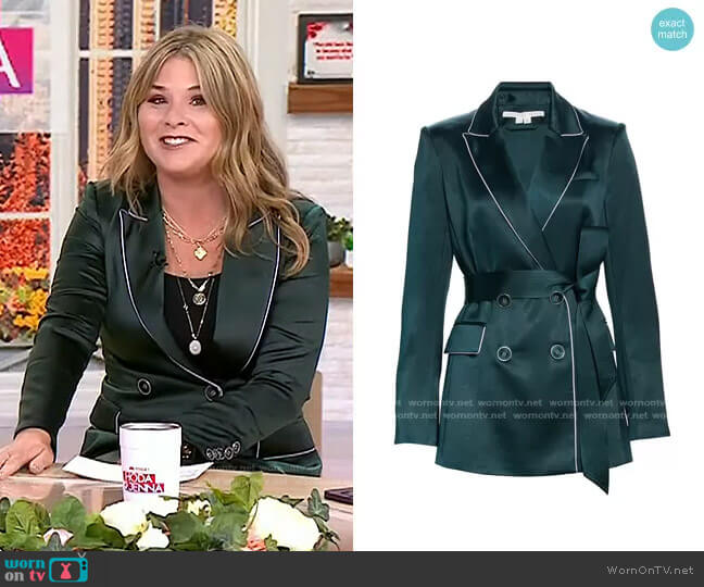 Eiza Belted Satin Jacket by Veronica Beard worn by Jenna Bush Hager  on Today