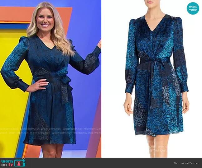 Elie Tahari Silk Leopard Patchwork Print Dress worn by Rachel Reynolds  on The Price is Right