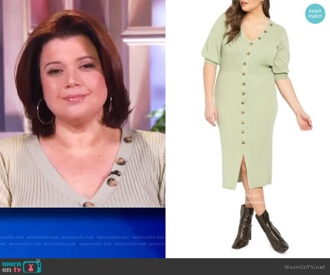 Ribbed Dress with Button Detail by Eloquii worn by Ana Navarro  on The View