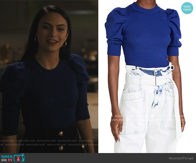 Puff Sleeve Sweater Top by En Saison worn by Veronica Lodge (Camila Mendes) on Riverdale