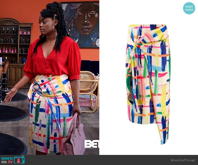 Essentiel Antwerp Abstract Print Wrap Skirt worn by Sabrina Hollins (Novi Brown) on Tyler Perrys Sistas