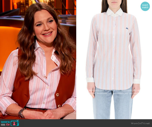 Etro Striped Shirt by Etro worn by Drew Barrymore  on The Drew Barrymore Show