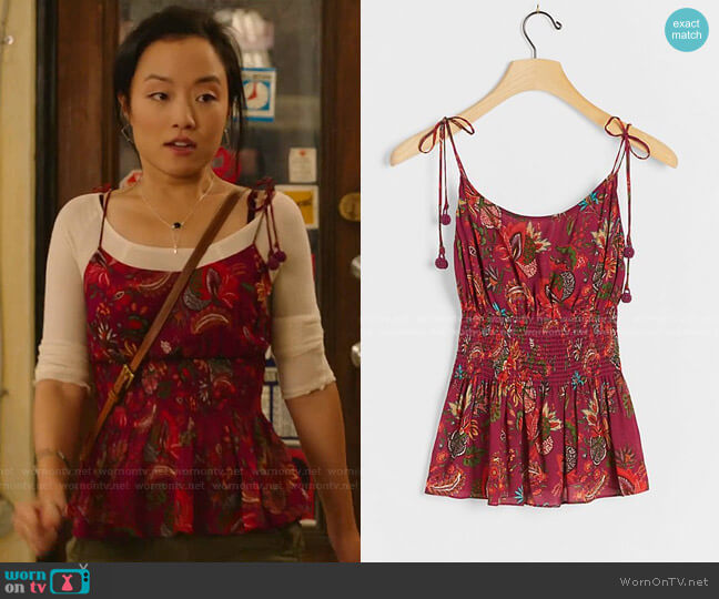 Meg Cami by Farm Rio worn by Janet (Andrea Bang) on Kims Convenience