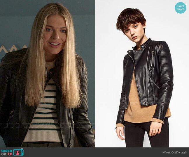 Faux Leather Biker Jacket by Zara worn by Tami Tamietti (Kate Miner) on Shameless