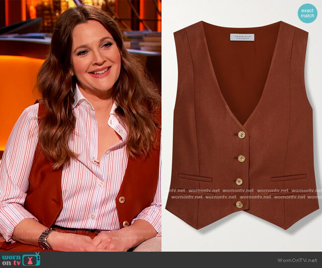 Zelos wool and silk-blend twill vest by Gabriela Hearst worn by Drew Barrymore  on The Drew Barrymore Show