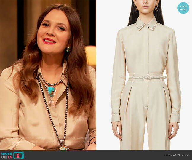Cruz Shirt and Pants by Gabriela Hearst worn by Drew Barrymore  on The Drew Barrymore Show