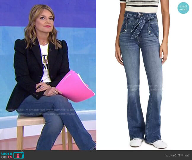 Giselle High-Rise Skinny Flare Jean by Veronica Beard worn by Savannah Guthrie  on Today