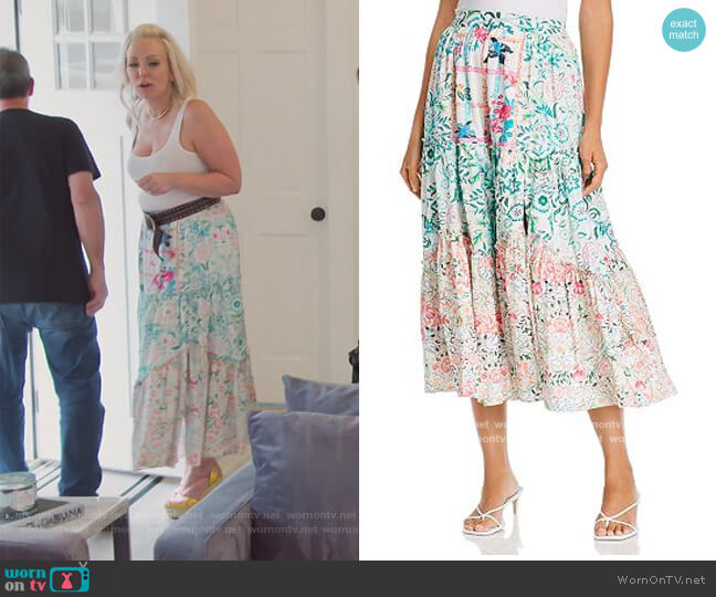 Cotton High Waist Printed Midi Skirt by Hemant and Nandita worn by Margaret Josephs  on The Real Housewives of New Jersey