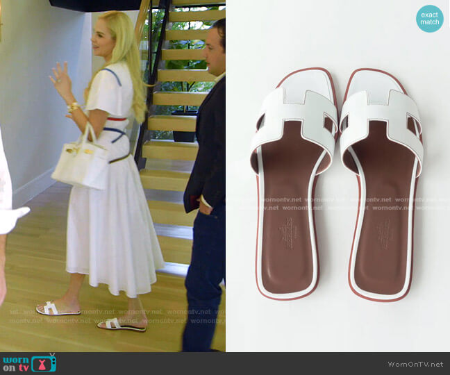 Box Calfskin Oran Sandals by Hermes worn by Kameron Westcott  on The Real Housewives of Dallas