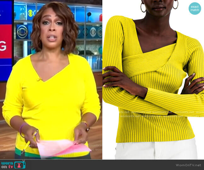 INC International Concepts Asymmetrical Rib Sweater worn by Gayle King  on CBS This Morning