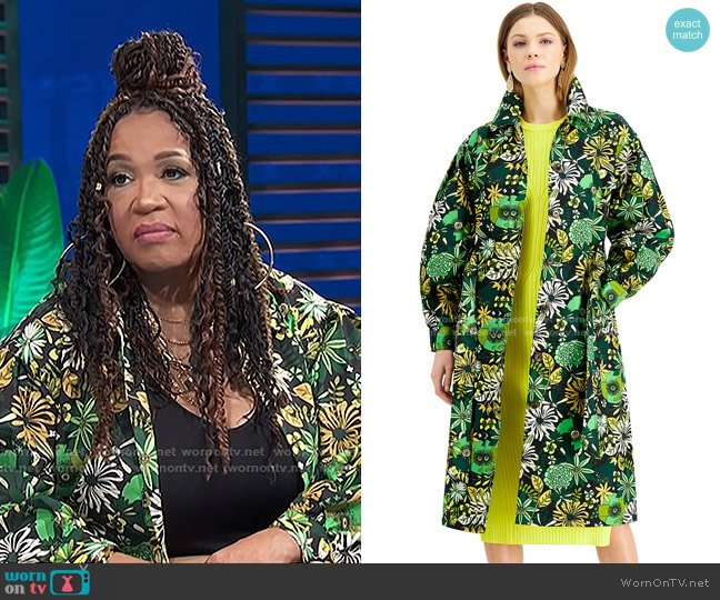 Floral-Print Twill Trench Coat by INC International Concepts worn by Kym Whitley  on E! News