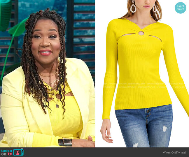 O-Ring Cutout Ribbed Sweater by INC International Concepts worn by Kym Whitley  on E! News