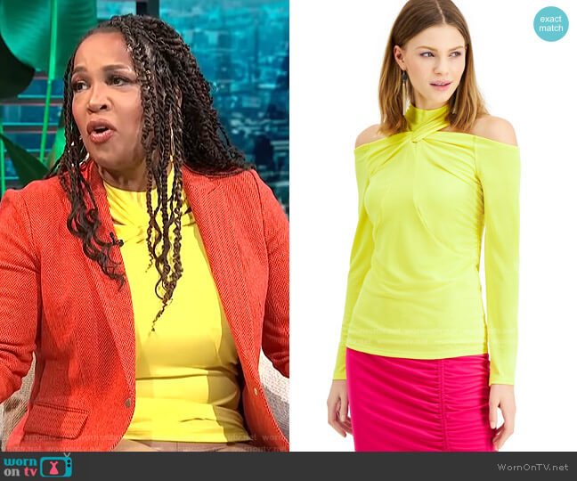 Twisted Cold-Shoulder Top by INC International Concepts worn by Kym Whitley  on E! News