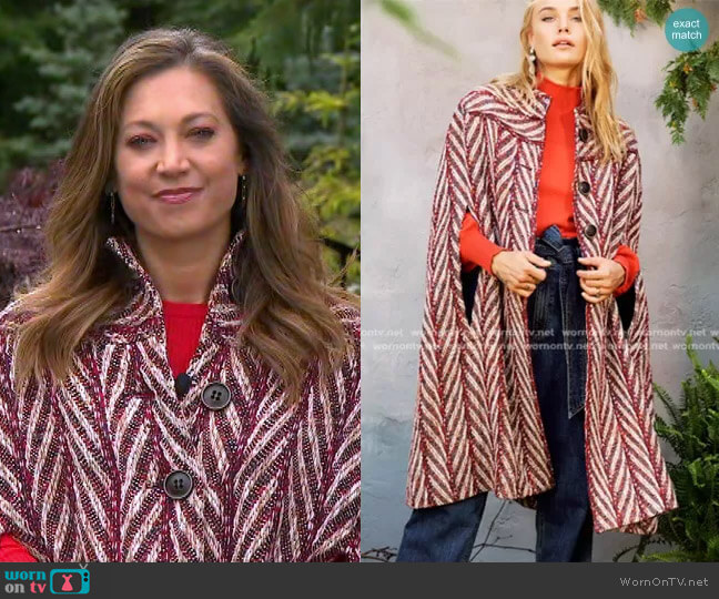 In-Town Cape by Happy x Nature worn by Ginger Zee  on Good Morning America