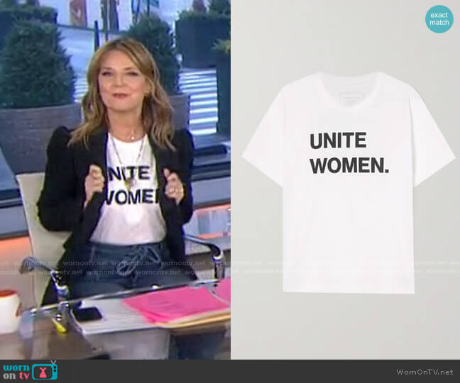 International Women's Day printed organic cotton-jersey T-shirt by Jennifer Fisher worn by Savannah Guthrie  on Today