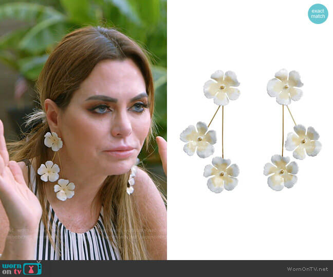 Natural Poppy Earrings by Jennifer Behr worn by D'Andra Simmons  on The Real Housewives of Dallas