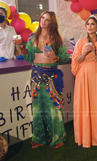 Jennifer's green printed cropped top and pants on The Real Housewives of Dallas