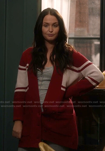 Jo's red and white striped cardigan on Greys Anatomy