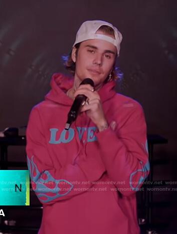 Justin Bieber's pink Lover hoodie on Good Morning America
