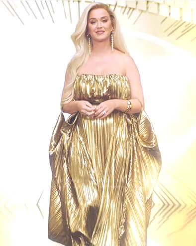 Katy's gold pleated strapless dress on American Idol
