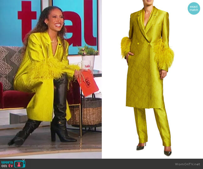 Snake Jacquard Long Coat with Ostrich Feather Cuffs by LaPointe worn by Elaine Welteroth  on The Talk