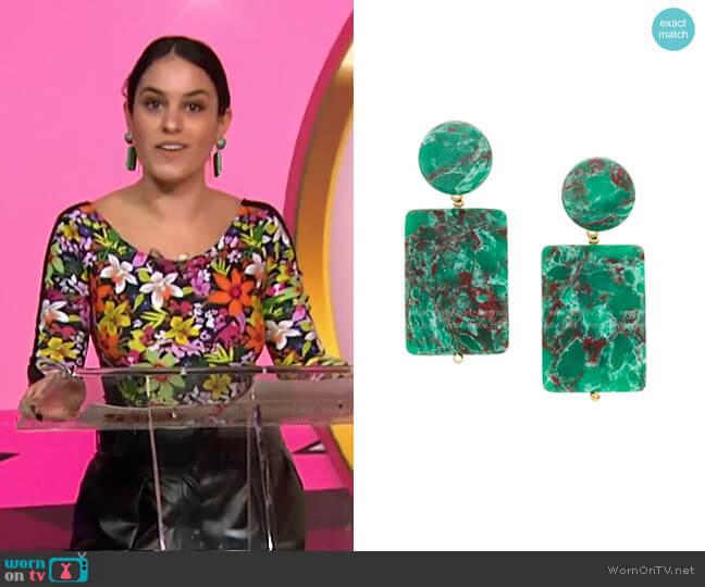 Keepsake Stone Earrings by Lele Sadoughi worn by Donna Farizan  on Today