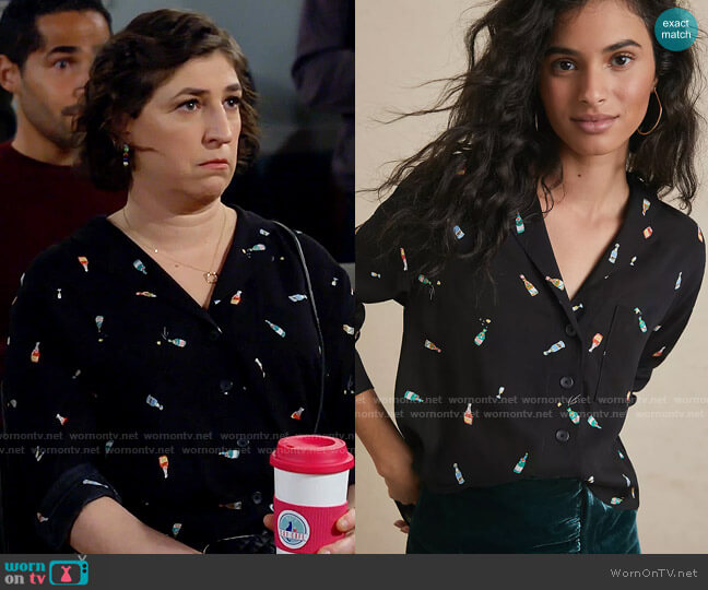 Anthropologie Maeve Cheers Buttondown worn by Kat Silver (Mayim Bialik) on Call Me Kat