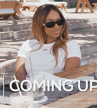 Malika's white off-white tee on Keeping Up with the Kardashians