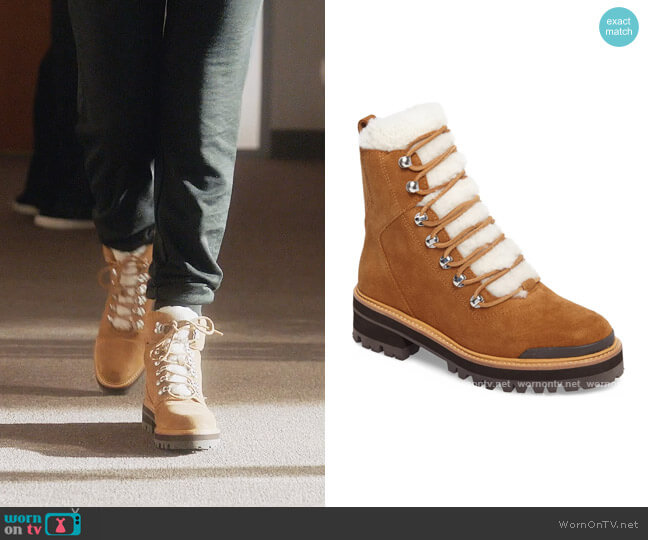 Izzie Genuine Shearling Lace-Up Boot by Marc Fisher worn by Zoey Johnson (Yara Shahidi) on Grown-ish