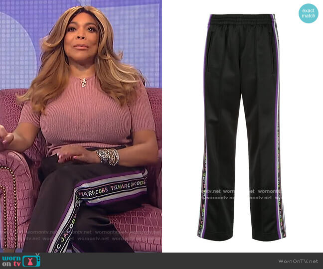 X New York Magazine Trim Track Pants by Marc Jacobs worn by Wendy Williams  on The Wendy Williams Show